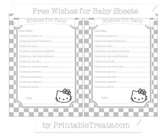 Free Pastel Light Grey Checker Pattern Hello Kitty Wishes for Baby Sheets