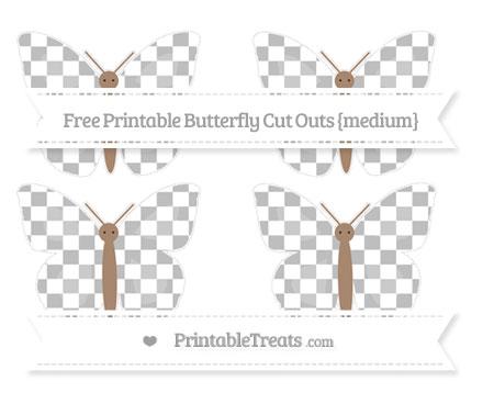 Free Pastel Light Grey Checker Pattern Medium Butterfly Cut Outs