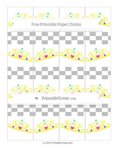 Free Pastel Light Grey Checker Pattern Princess Tiara Paper Chains