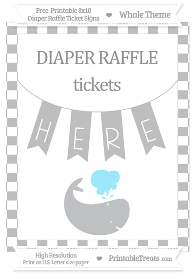 Free Pastel Light Grey Checker Pattern Whale 8x10 Diaper Raffle Ticket Sign