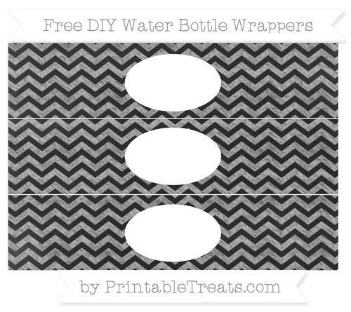 Free Pastel Light Grey Chevron Chalk Style DIY Water Bottle Wrappers