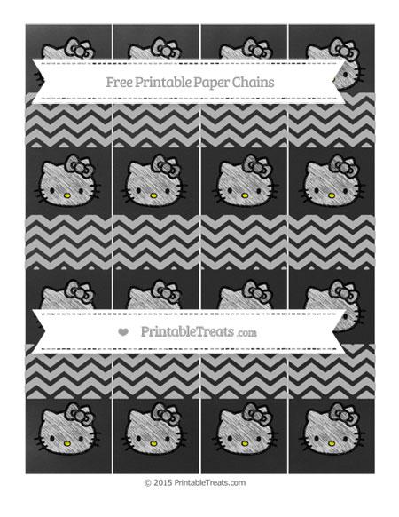 Free Pastel Light Grey Chevron Chalk Style Hello Kitty Paper Chains