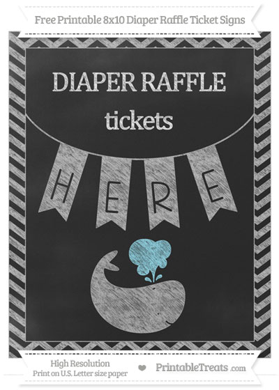 Free Pastel Light Grey Chevron Chalk Style Whale 8x10 Diaper Raffle Ticket Sign