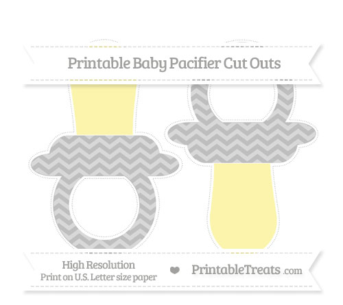 Free Pastel Light Grey Chevron Large Baby Pacifier Cut Outs