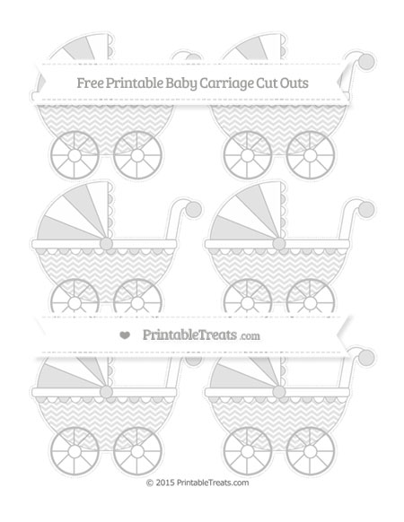 Free Pastel Light Grey Chevron Small Baby Carriage Cut Outs