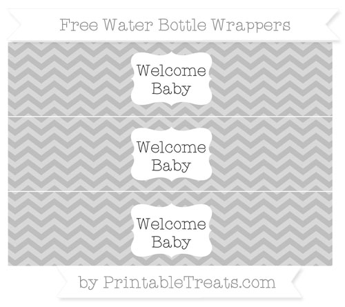 Free Pastel Light Grey Chevron Welcome Baby Water Bottle Wrappers