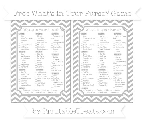 Free Pastel Light Grey Chevron What's in Your Purse Baby Shower Game
