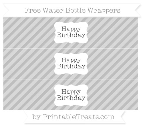 Free Pastel Light Grey Diagonal Striped Happy Birhtday Water Bottle Wrappers