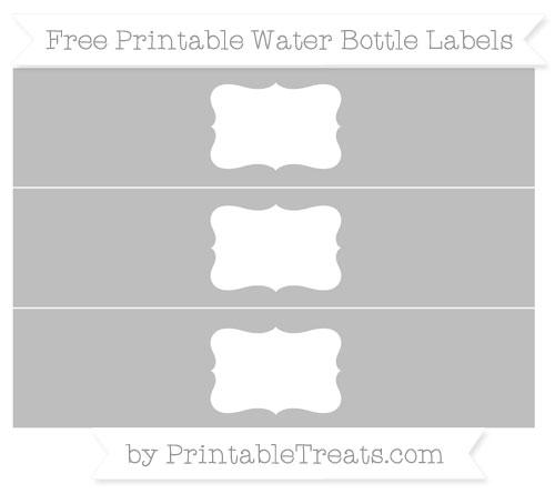 Free Pastel Light Grey Water Bottle Labels