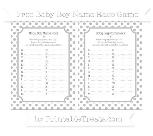 Free Pastel Light Grey Dotted Pattern Baby Boy Name Race Game
