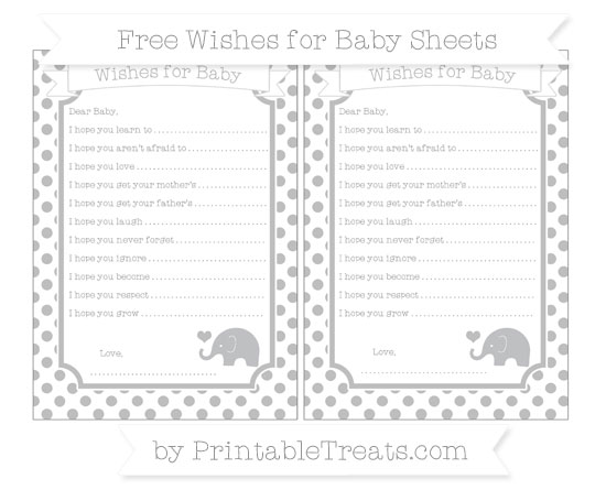Free Pastel Light Grey Dotted Pattern Baby Elephant Wishes for Baby Sheets