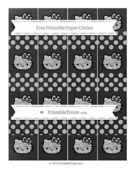 Free Pastel Light Grey Dotted Pattern Chalk Style Hello Kitty Paper Chains