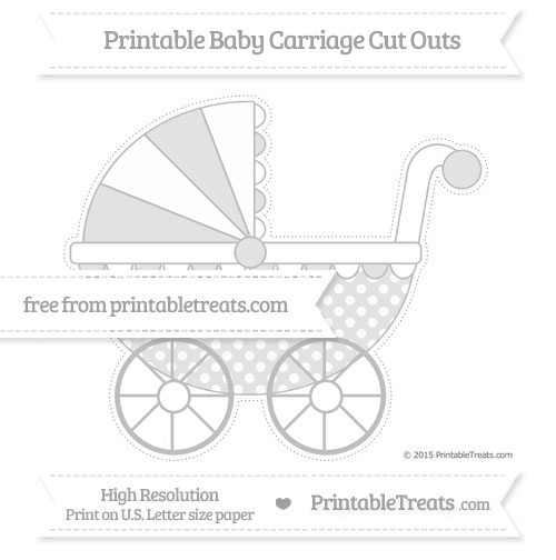 Free Pastel Light Grey Dotted Pattern Extra Large Baby Carriage Cut Outs
