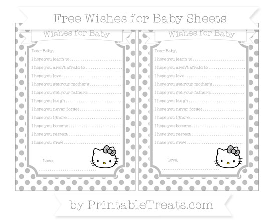 Free Pastel Light Grey Dotted Pattern Hello Kitty Wishes for Baby Sheets