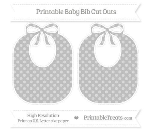 Free Pastel Light Grey Dotted Pattern Large Baby Bib Cut Outs