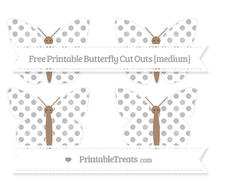 Free Pastel Light Grey Dotted Pattern Medium Butterfly Cut Outs