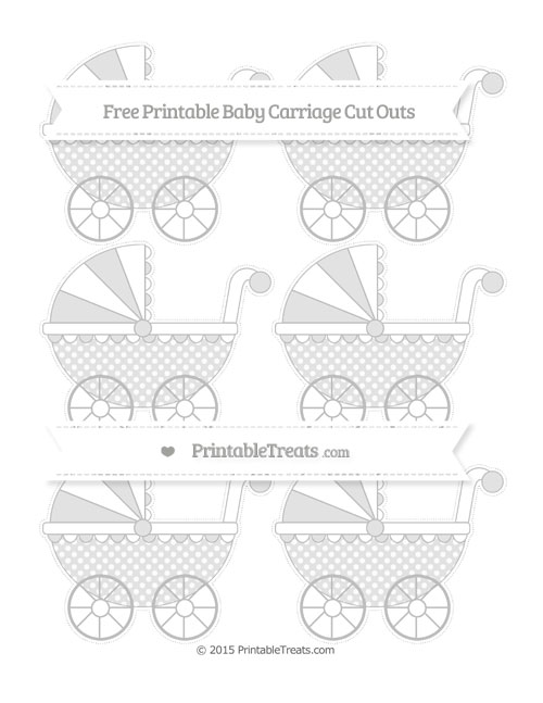 Free Pastel Light Grey Dotted Pattern Small Baby Carriage Cut Outs