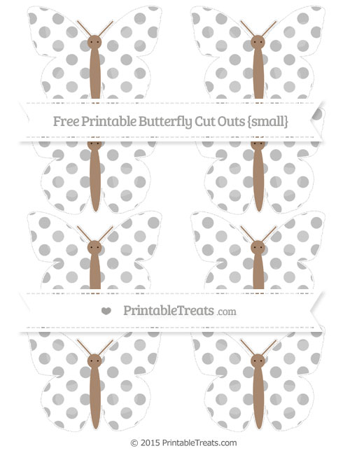 Free Pastel Light Grey Dotted Pattern Small Butterfly Cut Outs