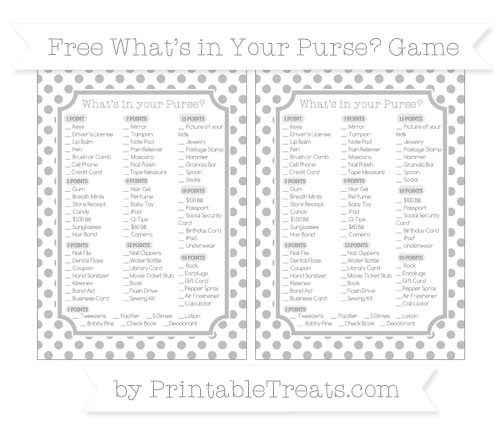 Free Pastel Light Grey Dotted Pattern What's in Your Purse Baby Shower Game