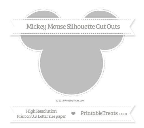 Free Pastel Light Grey Extra Large Mickey Mouse Silhouette Cut Outs
