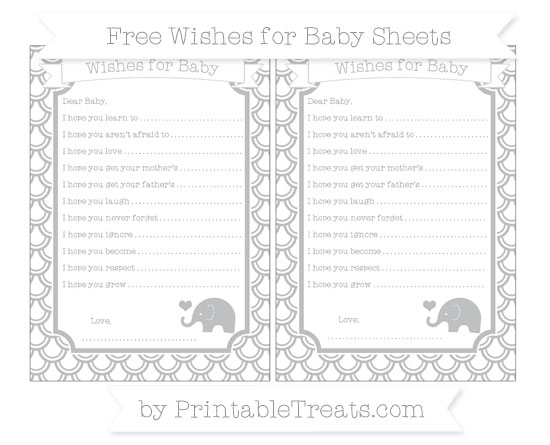 Free Pastel Light Grey Fish Scale Pattern Baby Elephant Wishes for Baby Sheets