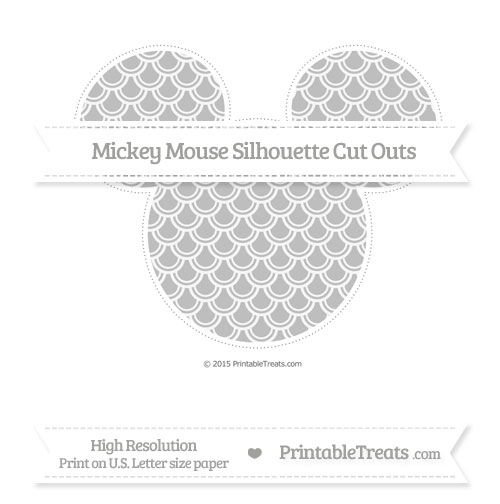 Free Pastel Light Grey Fish Scale Pattern Extra Large Mickey Mouse Silhouette Cut Outs