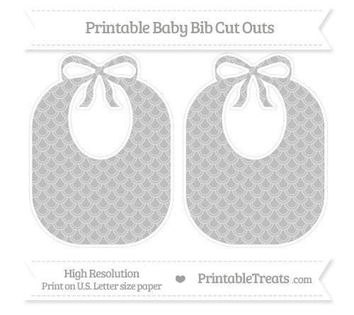 Free Pastel Light Grey Fish Scale Pattern Large Baby Bib Cut Outs
