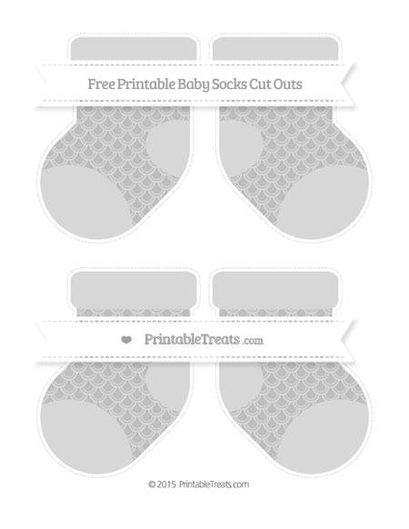 Free Pastel Light Grey Fish Scale Pattern Medium Baby Socks Cut Outs