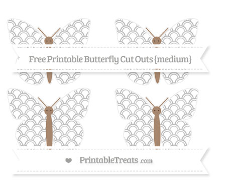 Free Pastel Light Grey Fish Scale Pattern Medium Butterfly Cut Outs