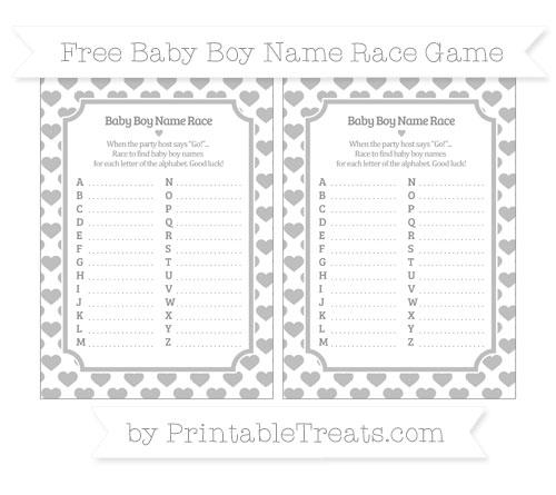Free Pastel Light Grey Heart Pattern Baby Boy Name Race Game