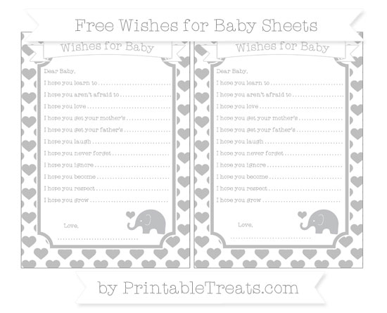 Free Pastel Light Grey Heart Pattern Baby Elephant Wishes for Baby Sheets