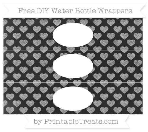 Free Pastel Light Grey Heart Pattern Chalk Style DIY Water Bottle Wrappers