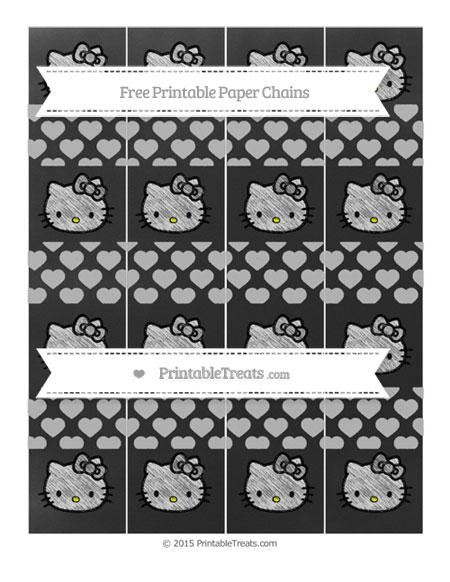 Free Pastel Light Grey Heart Pattern Chalk Style Hello Kitty Paper Chains