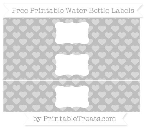 Free Pastel Light Grey Heart Pattern Water Bottle Labels