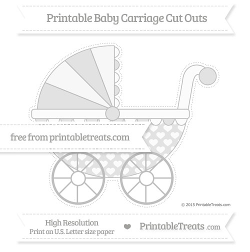 Free Pastel Light Grey Heart Pattern Extra Large Baby Carriage Cut Outs