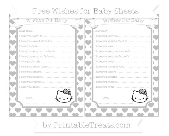 Free Pastel Light Grey Heart Pattern Hello Kitty Wishes for Baby Sheets
