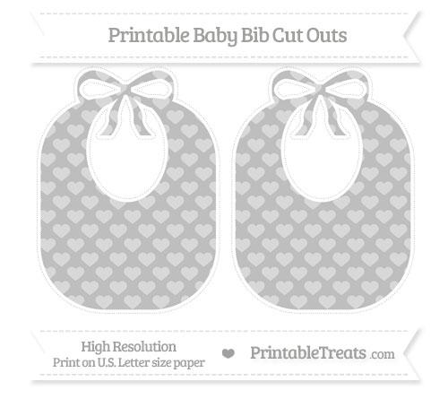 Free Pastel Light Grey Heart Pattern Large Baby Bib Cut Outs