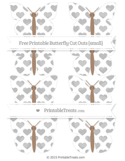 Free Pastel Light Grey Heart Pattern Small Butterfly Cut Outs
