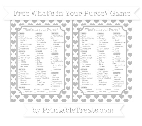Free Pastel Light Grey Heart Pattern What's in Your Purse Baby Shower Game