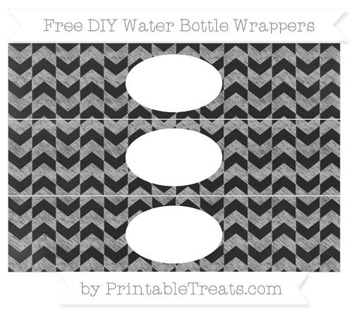 Free Pastel Light Grey Herringbone Pattern Chalk Style DIY Water Bottle Wrappers