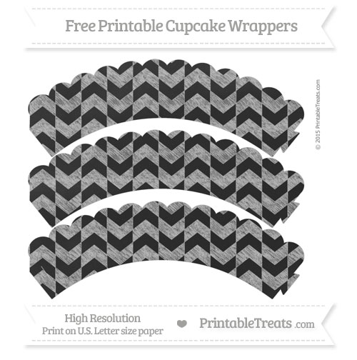 Free Pastel Light Grey Herringbone Pattern Chalk Style Scalloped Cupcake Wrappers