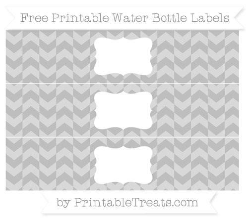 Free Pastel Light Grey Herringbone Pattern Water Bottle Labels
