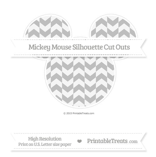 Free Pastel Light Grey Herringbone Pattern Extra Large Mickey Mouse Silhouette Cut Outs