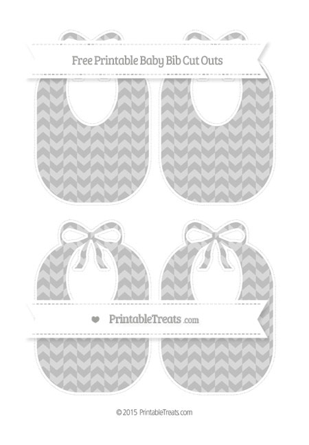 Free Pastel Light Grey Herringbone Pattern Medium Baby Bib Cut Outs