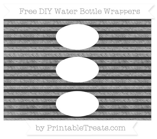 Free Pastel Light Grey Horizontal Striped Chalk Style DIY Water Bottle Wrappers