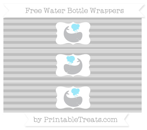 Free Pastel Light Grey Horizontal Striped Whale Water Bottle Wrappers