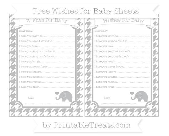 Free Pastel Light Grey Houndstooth Pattern Baby Elephant Wishes for Baby Sheets