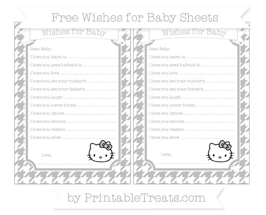 Free Pastel Light Grey Houndstooth Pattern Hello Kitty Wishes for Baby Sheets