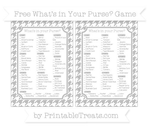 Free Pastel Light Grey Houndstooth Pattern What's in Your Purse Baby Shower Game