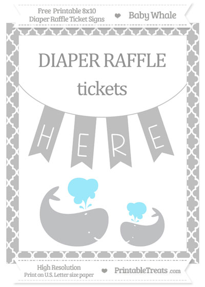 Free Pastel Light Grey Moroccan Tile Baby Whale 8x10 Diaper Raffle Ticket Sign